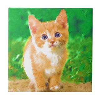 Gato artsy lindo teja cerámica