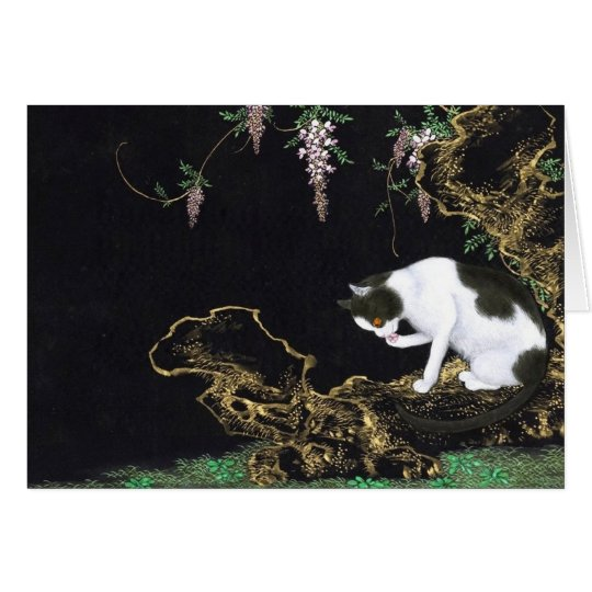 Gato asiático que lame la pata tarjeta pequeña