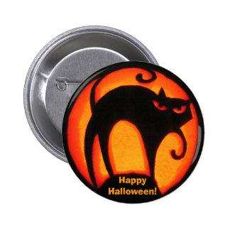¡Gato asustadizo del feliz Halloween! Botón