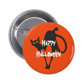 Gato asustadizo del feliz Halloween Pin Redondo De 2 Pulgadas