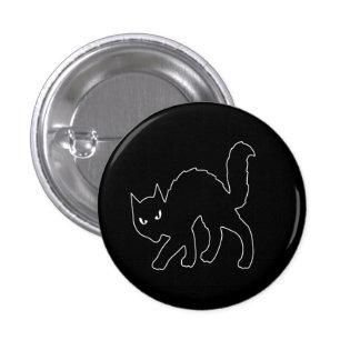 Gato asustadizo gótico del gatito de Halloween Pin Redondo De 1 Pulgada