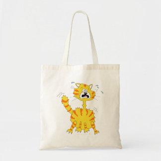 Gato asustado del dibujo animado divertido bolsa tela barata