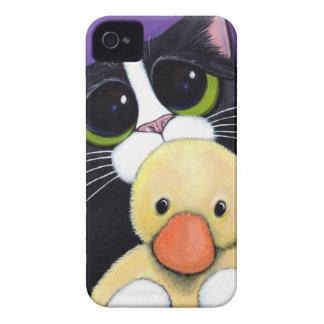 Gato asustado del smoking y pintura mimosa del Case-Mate iPhone 4 protector
