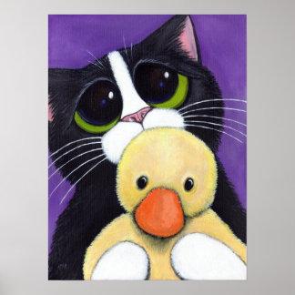 Gato asustado del smoking y pintura mimosa del póster