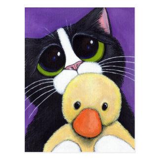 Gato asustado del smoking y pintura mimosa del tarjetas postales