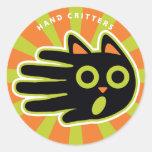 Gato asustado etiquetas redondas