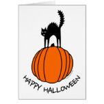 Gato asustado Halloween Felicitaciones