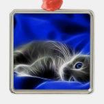 gato azul adorno cuadrado plateado