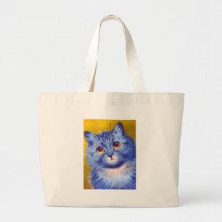 Gato azul bolsa de tela grande
