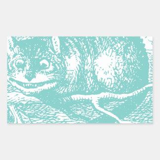 Gato azul de Cheshire Rectangular Pegatinas