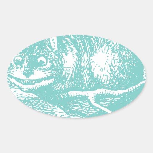 Gato azul de Cheshire Calcomanías Ovales Personalizadas