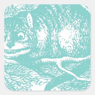 Gato azul de Cheshire Pegatinas Cuadradas