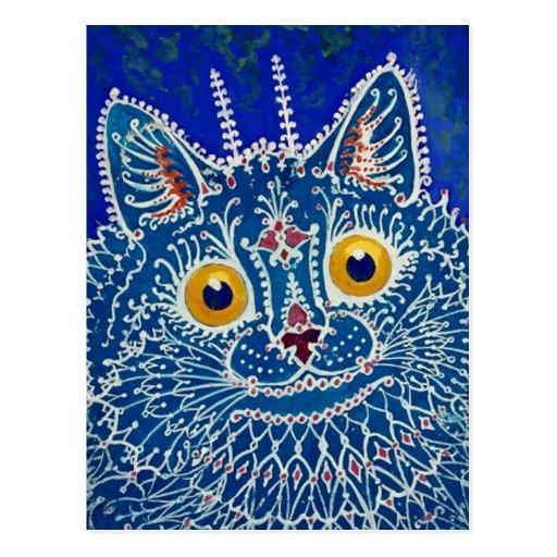 Gato azul de Louis Wain Postales
