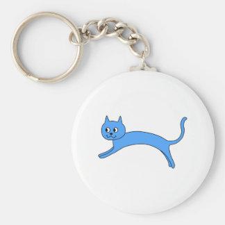 Gato azul de salto llavero redondo tipo pin