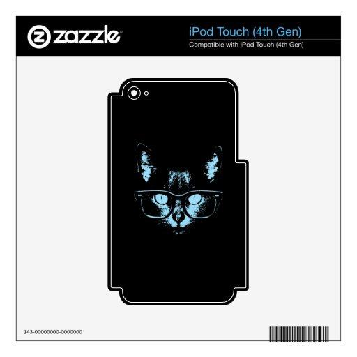 Gato azul del empollón calcomanías para iPod touch 4G