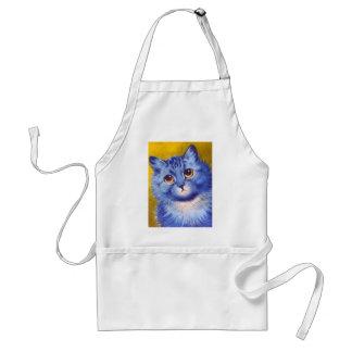 Gato azul delantal