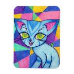 Gato azul en el fondo de Technocolour Imán De Vinilo