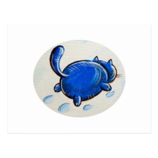 Gato azul en la nieve postal