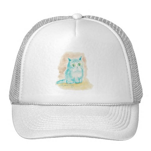 Gato azul gordo del gatito gorro de camionero