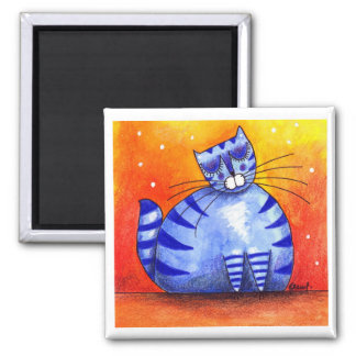 Gato azul gordo grande - imán cuadrado