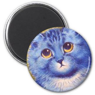 Gato azul imán redondo 5 cm