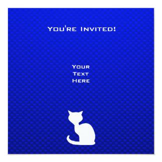 Gato azul invitación 13,3 cm x 13,3cm