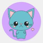 Gato azul lindo de Kawaii Pegatina Redonda