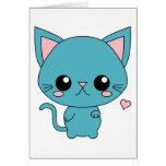 Gato azul lindo de Kawaii Tarjetón
