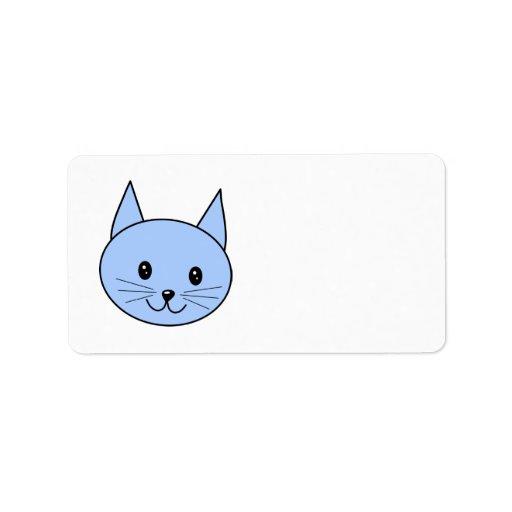 Gato azul lindo etiqueta de dirección