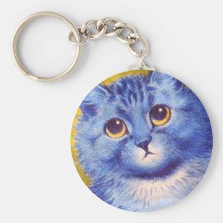 Gato azul llavero redondo tipo pin