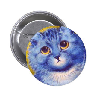 Gato azul pin redondo de 2 pulgadas