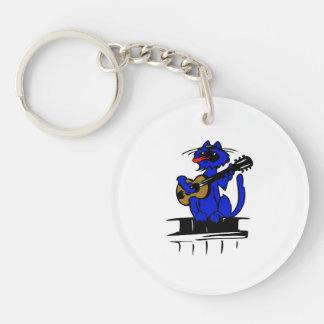 gato azul que juega la guitarra y singing.png llavero redondo acrílico a doble cara