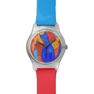 Gato azul reloj de mano