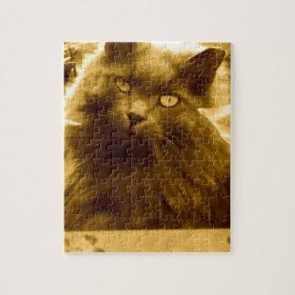 Gato azul ruso de pelo largo del vintage rompecabezas