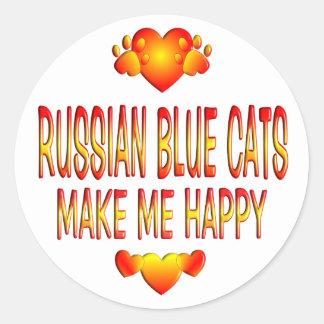 Gato azul ruso etiqueta redonda