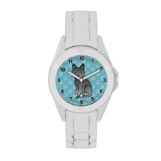 Gato azul ruso reloj de mano