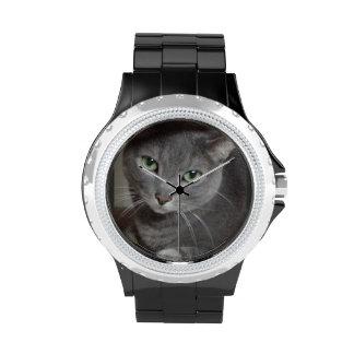 Gato azul ruso relojes de pulsera