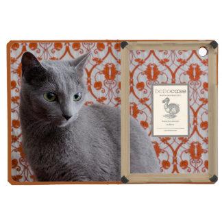 Gato (azul ruso) y fondo del papel pintado
