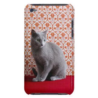 Gato (azul ruso) y fondo del papel pintado iPod touch protector