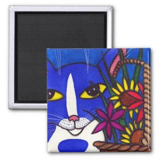 Gato azul y cesta de flores imán para frigorifico