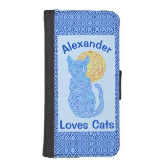 Gato azul y el gatito felino del amante del gato billetera para teléfono