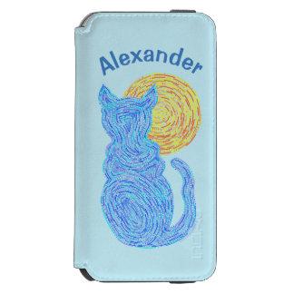 Gato azul y el gatito felino del amante del gato funda billetera para iPhone 6 watson