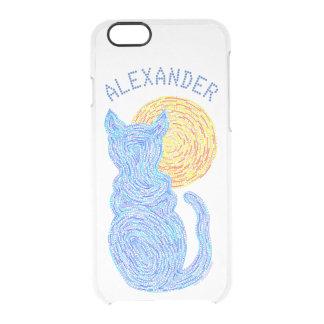 Gato azul y el gatito felino del amante del gato funda clear para iPhone 6/6S
