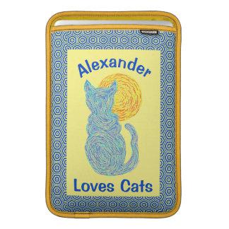 Gato azul y el gatito felino del amante del gato fundas macbook air