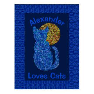 Gato azul y el gatito felino del amante del gato postales