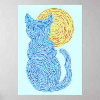 """Gato azul y el gato del zen de la luna 20"""" x 28"""" póster"""