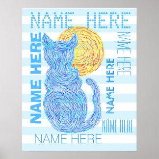 Gato azul y las rayas del amante del gato de la póster