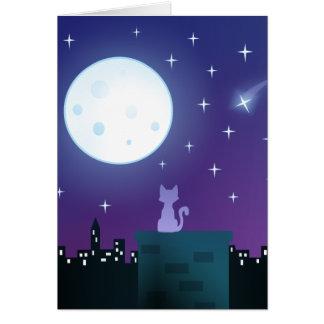 Gato bajo claro de luna tarjeta de felicitación