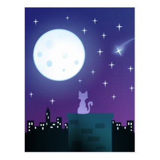 Gato bajo claro de luna tarjetas postales