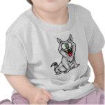 Gato bizco gris del dibujo animado camisetas